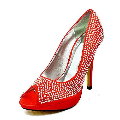 Noche Toe Tachonado Satén Zapatos Tacón Red Diamante De Señoras Peep x8w7w
