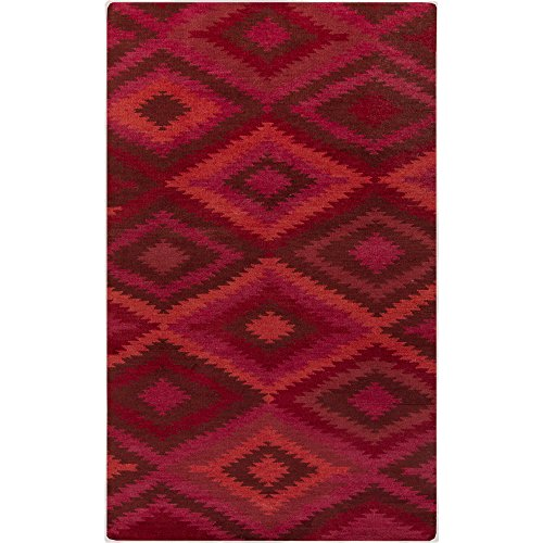 Surya MES9000-23 Hand Knotted Casual Accent Rug, 2 by 3-Feet, Burgundy/Coral/Carnation ()