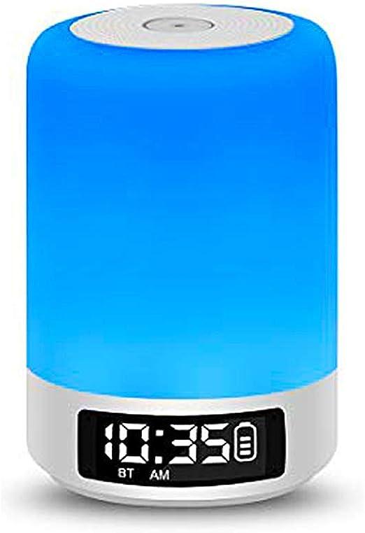 LED Touch Nachttischlampe Nachtlicht Büroleuchte Bluetooth Lautsprecher Wecker