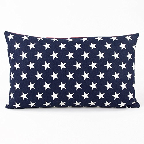 Red, White and Blue USA Flag and Stripes Decorative Handmade Lumbar Pillow Cover, 12x20