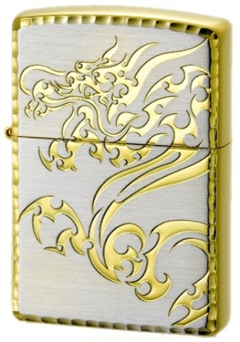 Zippo Lighter TRIBAL BEAST DRAGON Silver x Gold Edge