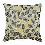 "Handmade Yellow Shams, Sequins Leaves Garden Pillow Sham, 24""x24"" Pillow Shams, Square Cotton Linen Shams, Modern Pillow Shams - Silver Meadow"