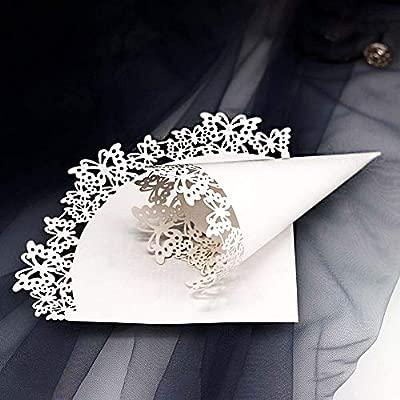 Sumshy 100 Conos portapeladillas para Boda, Color Blanco ...