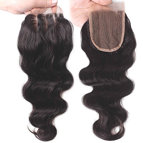 Elva Hair 3 Part Closure Body Wave Virgin Brazilian Hair 130% Density Lace Closure (8 Inch)