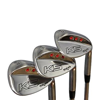 Majek Golf Senior Men's Complete Wedge Set: 52° Gap Wedge (GW), 56° Sand Wedge (SW), 60° Lob Wedge (LW) Right Handed Senior Flex Steel Shaft
