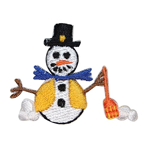 (ID 8224B Snowman Shoveling Snow Patch Winter Decor Embroidered Iron On Applique)