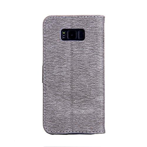 Funda Galaxy S8 Plus, Funda de brillo Galaxy S8 Plus, Lifetrut Sólido Shiny Sparkle Libro de Estilo de Cuero con Ranura para Tarjetas de Cierre Magnético Soporte Funda de Teléfono de la Función con Co E202-Gris