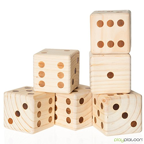 Play Platoon Lawn Dice With Scoreboard Giant Wooden Yard Import