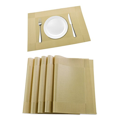 Orangehome Set of 6 Placemats,Placemats for Dining Table,Heat-resistant Placemats, Stain Resistant Washable PVC Table Mats,Kitchen Table mats(Gold) by Orangehome (Image #6)