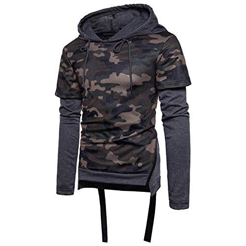 Gris En Longue 1 Pull Shirt Capuche Sweatershirt ball Militaire Wslcn À Serrage Camouflage Basket Cordon De Garçon 2 Foncé Sweater Manche Homme Zipper 1qfwEv