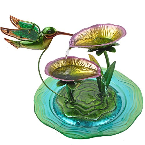 Peaktop Hand Painted Hummingbird Glass Water Fountain Trickling Waterfall