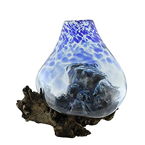 Amazon.com: Extra Large Hand Blown Blue and Clear Molten Glass and ...