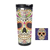 Travel Tumbler - Color Mexican Skull Stainless Steel Travel Mug & Coffee Cup - Thermal Cup with Splash Proof Sliding Lid - Great Gifts At Christmas, 18oz -  jiushiyigezi-n