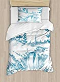 Ambesonne Rustic Duvet Cover Set Twin Size, Rural Woodland and Waterfall with Pencil Drawing Effect Graphic Scenic Art Print, Decorative 2 Piece Bedding Set with 1 Pillow Sham, Blue White