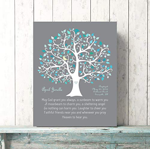 CANVASPrtint Personalized Baptism Print Canvas Teal Blue Baptised Gift Baby Girl Dedication GiftCustom Nursery Decor Irish Blessing Quote Poem Scripture 11x14