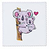 3dRose Sven Herkenrath Animal - Australia Koala Bear Child and Mother with Purple Colors - 12x12 inch quilt square (qs_280318_4)