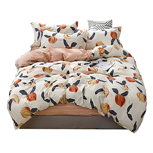 HOLY HOME Duvet Cover Mini Set Acrylic Fiber-Mixed Cotton Simple Style Anti-Bacterial & mite 4 Pieces Beddings (Queen, Peach)