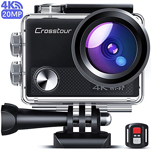Crosstour CT9100 4K 20MP Action Camera with WiFi EIS LDC Remote Control 40M Waterproof Underwater Camcorder with Accessories Kit