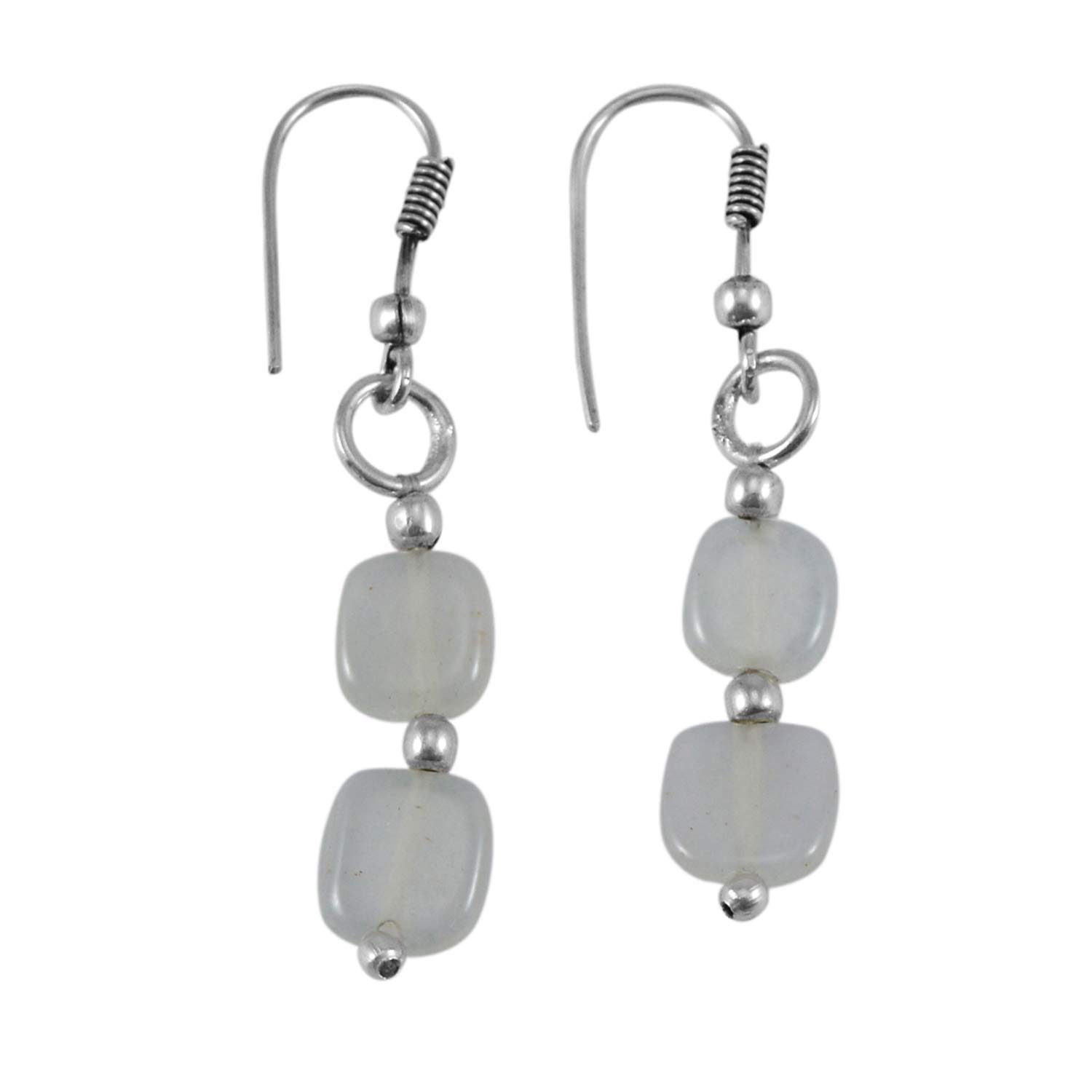 Saamarth Impex White Quartz 925 Silver Plated Dangle Earring PG-132518