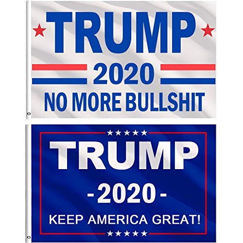 Jetec 2 Pieces Donald Trump for President 2020 Flag 3 x 5 Feet NO More Bullshit Flag Keep America Great Flag with Brass Grommets (Color B)