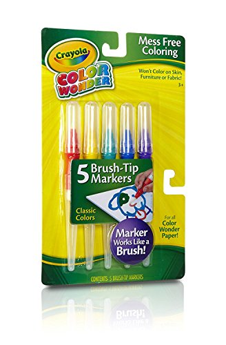 (Crayola Classic Color Wonder Brush Tip Markers, (1 Pack, 5 Markers) )