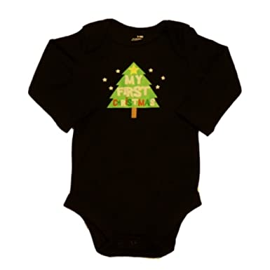 holiday time infant my first christmas onesie black xmas tree creeper shirt nb