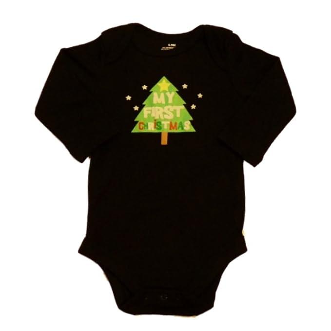 Christmas Tree Onesie.Holiday Time Infant My First Christmas Onesie Black Xmas Tree Creeper Shirt
