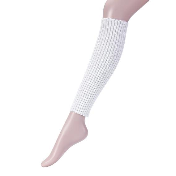 OULII Calcetines Largos de Arranque de Ganchillo Para Mujeres Calcetines (Blanco)
