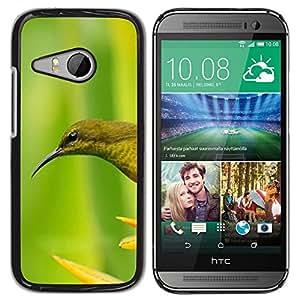 TopCaseStore / la caja del caucho duro de la cubierta de protección de la piel - Bird Flower Green Spring - HTC ONE MINI 2 / M8 MINI