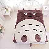 Sport do Upgrade Flannel Totoro Bed Cover,Cute Cartoon Comforter for Kids,Soft Totoro/Cat/Owl Duvet Cover,Removable and Washable Quilt
