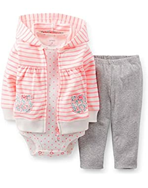 Carters Infant Girls 3 Piece Set Pink Stripes Flowers Hoodie Leggings Shirt