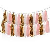 15 Pcs Tassel Garland Banner Tissue Paper for Wedding Baby Shower Event Party DIY Kits (Pink+Metallic Gold+White)