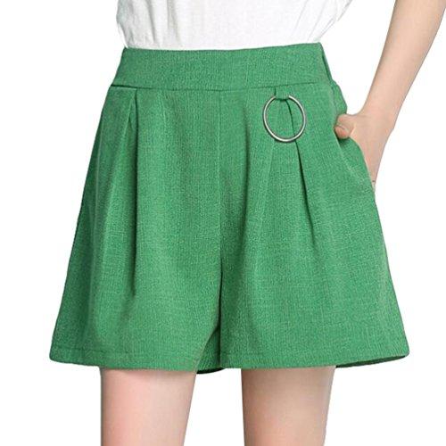 YiLianDa Mujeres Casual Cintura Elástica Pantalones Cortos Verde