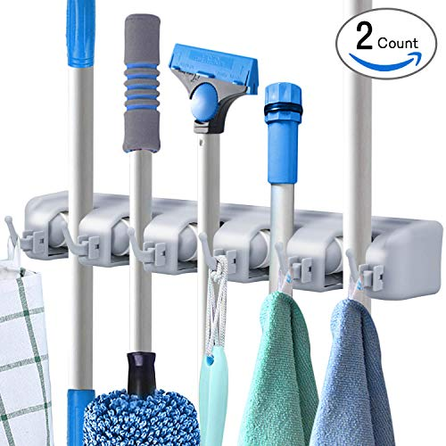 Multi Door Hook (Pack of 2 Mop and Broom Holder Wall Mount Storage with 6 Foldable Hooks, Heavy Duty Garage & Garden Tools Hanger Rack, Commercial Kitchen Closet Wall Organizer by DealBang (18 Months Warranty))
