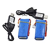 Blomiky 2 Pack 7.4V 1200mAH Lipo Battery and USB Charger Cable for RC Truck Boat RC Quadcopter Drone 7.4V 1200mAh 2