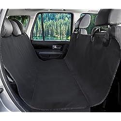 BarksBar Original Pet Seat Cover for Cars - Black, WaterProof & Hammock Convertible (Standard, Black)
