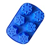 Bluesnow DIY Cute Snowflake Chocolate Cake Cupcake Cookie Mold Silicone Handmade Soap Mold 6 Cavity