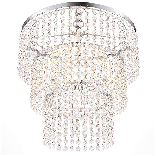 Luxurious K9 Crystal Chandelier with 3 Circle Octagon Shape Crystal Lighting Fixture Pendant Lamp for Dining Room Bathroom Bedroom Living-Room 3 E26 LED Bulbs (Clear/Chrome)
