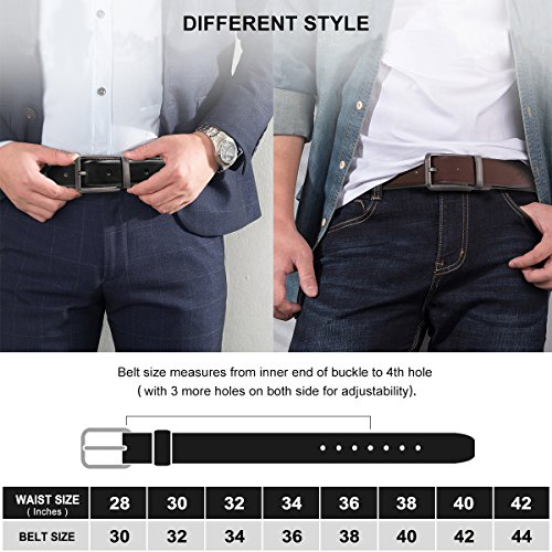 Men's Genuine Leather Dress Belt Reversible with Single Prong Rotated Buckle Gift Box by HIPPIH (Image #5)