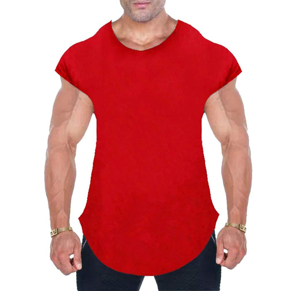 Yying Cotton Gym Shirt Sport T Shirt Men Short Sleeve Running Shirt Workout Training Tees Fitness Top Sport T-Shirt