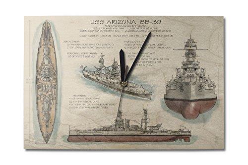 Lantern Press USS Arizona Battleship - Technical (10x15 Wood Wall Clock, Decor Ready to Hang)