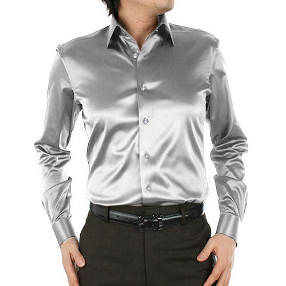 SOMTHRON Uomo Moda Brilla vestibilit/à Regolare Sii Camicia Affari 20 Colori