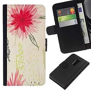 LG G2 / D800 / D802 / D803 / VS980 Modelo colorido cuero carpeta tirón caso cubierta piel Holster Funda protección - Pink Floral Drawing Beige Red Mother