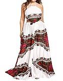 Floerns Women's Plus Size Bohemian Print Sleeveless Party Maxi Dress Multicolor 2X