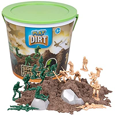 Play Dirt Special Forces Bucket (1.5 Lb) - Unique Kinetic Dirt-Like Sand For Burying and Digging Fun - Includes 16 Army Soldiers and 2 Rock Molds -: Toys & Games