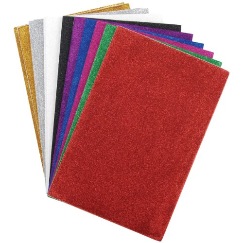 Darice 106-1009 12-Pack Foamies Sticky-Back Glitter Sheet, 6 by 9-Inch, Assorted Colors