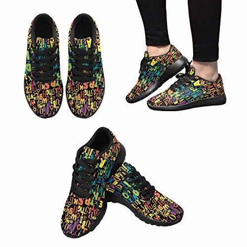 Interestprint Femmes Jogging Running Sneaker Léger Aller Facile Confort De Marche Sport Chaussures De Course Abstrait Confondre Alphabet Coloré Multi 1