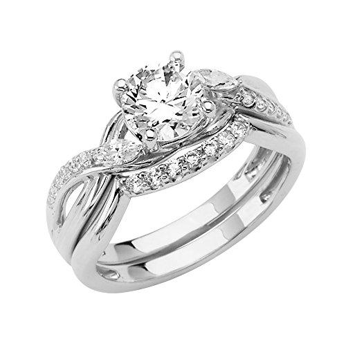 Wellingsale Ladies 14K White Gold CZ Cubic Zirconia Engagement Ring + Wedding Band Bridal Set - Size 8