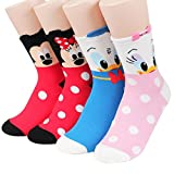 Socksense Disney Pixar Character Series Women's Original Crew Socks (Mickey Friends_4pairs)