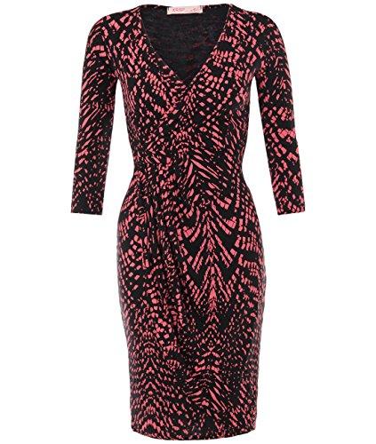 KRISP Womens Knee Length Wrap Dress 3/4 Sleeve Jersey Midi, Coral/Black, 10